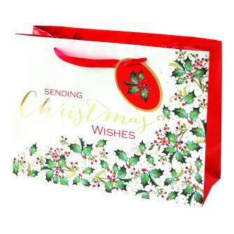 festive foliage holly large bag cancer research uk christmas bag