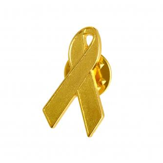 Kids & Teens Gold Ribbon Pin Badge