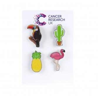 Tropical Pin Badges - Pack of 4