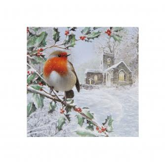 Robin In A Tree Christmas Cards - Pack of 10