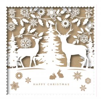 silhouette reindeer cancer research uk christmas card
