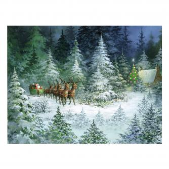 sleigh in forest bi-lingual cancer research uk christmas card