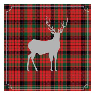stag with tartan cancer research uk christmas card