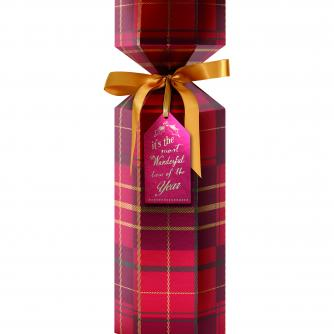 Luxury Bottle Box Trad Tartan Cancer Research uk Christmas Box