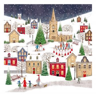 village at christmas bi-lingual cancer research uk christmas card