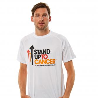Stand Up To Cancer Mens Full Logo White T-Shirt